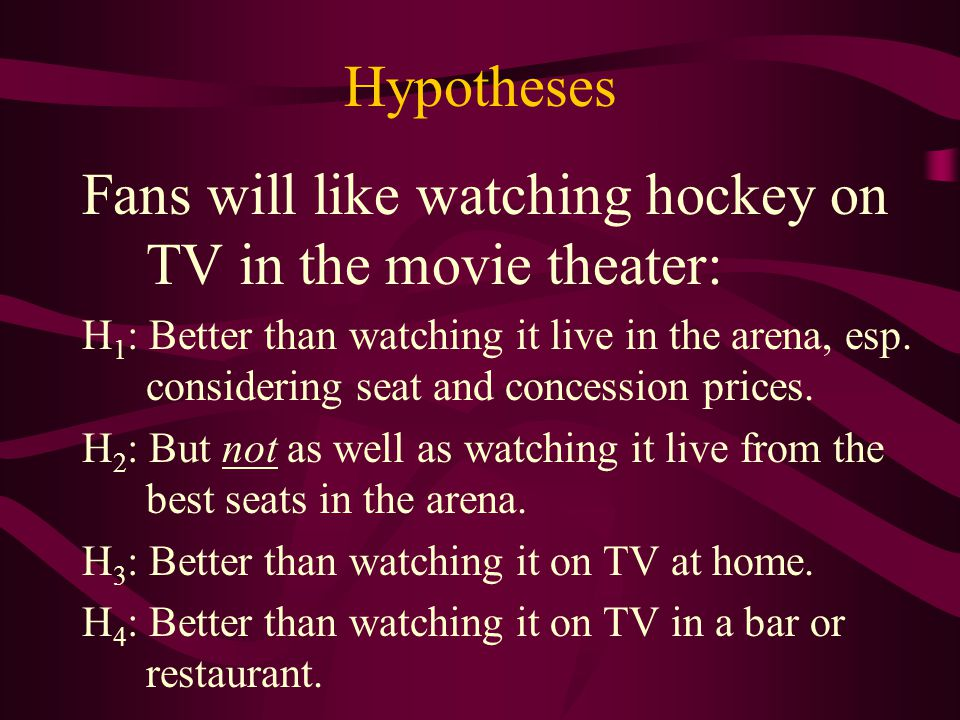 Hypotheses (continued) Female fans will like watching hockey: H 5 : On TV in a movie theater as well as men will.