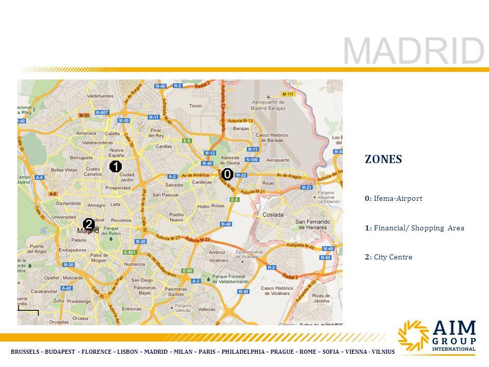 BRUSSELS – BUDAPEST – FLORENCE – LISBON – MADRID – MILAN – PARIS – PHILADELPHIA – PRAGUE – ROME – SOFIA – VIENNA - VILNIUS MADRID ZONES 0: Ifema-Airport 1: Financial/ Shopping Area 2: City Centre 0 1 2