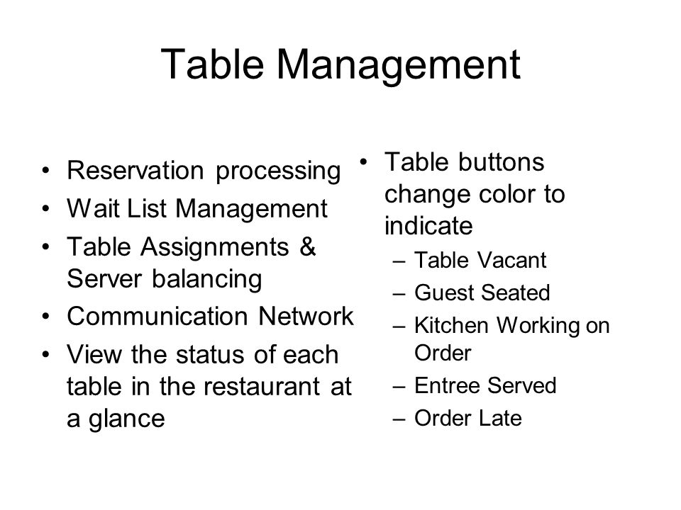 Table Management Reservation processing Wait List Management Table Assignments & Server balancing Communication Network View the status of each table