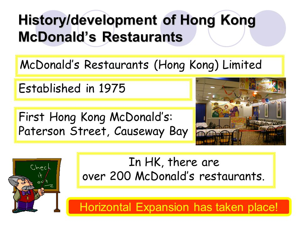 History/development of Hong Kong McDonalds Restaurants McDonalds Restaurants (Hong Kong) Limited Established in 1975 First Hong Kong McDonalds: Paterson Street, Causeway Bay In HK, there are over 200 McDonalds restaurants.