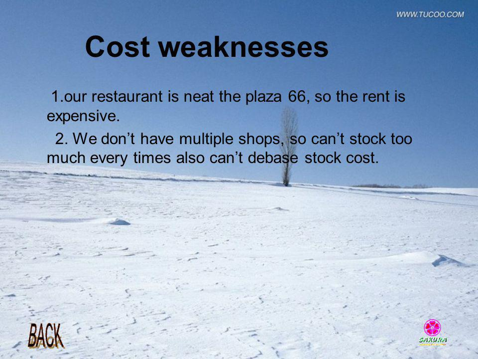 Cost weaknesses 1.our restaurant is neat the plaza 66, so the rent is expensive. 2. We dont have multiple shops, so cant stock too much every times al