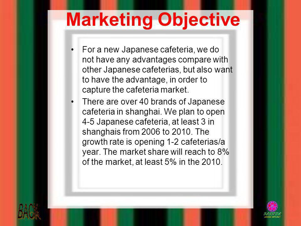 Marketing Objective For a new Japanese cafeteria, we do not have any advantages compare with other Japanese cafeterias, but also want to have the adva