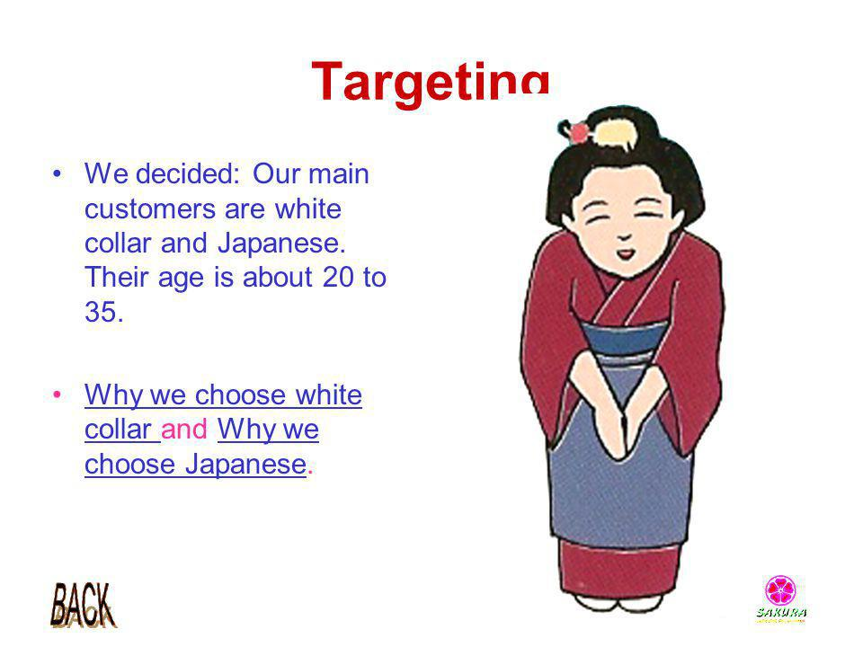 Targeting We decided: Our main customers are white collar and Japanese. Their age is about 20 to 35. Why we choose white collar and Why we choose Japa