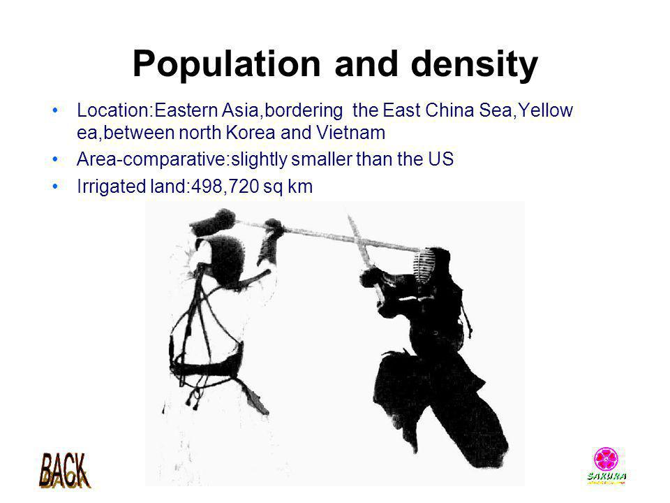 Population and density Location:Eastern Asia,bordering the East China Sea,Yellow ea,between north Korea and Vietnam Area-comparative:slightly smaller