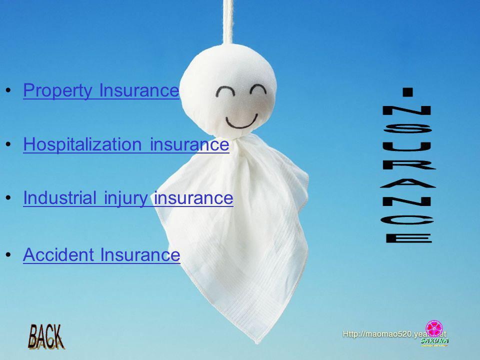 Property Insurance Hospitalization insurance Industrial injury insurance Accident Insurance