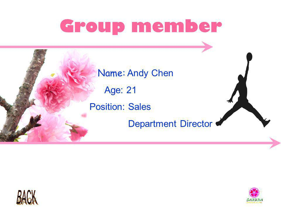 Group member Name: Andy Chen Age: 21 Position: Sales Department Director