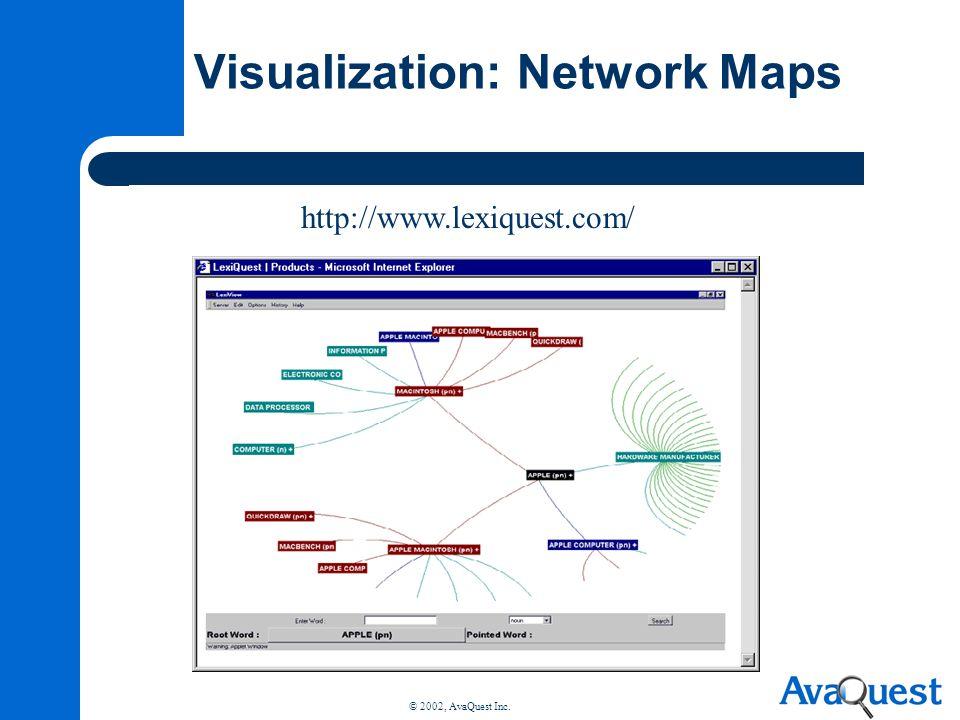 © 2002, AvaQuest Inc. Visualization: Network Maps http://www.lexiquest.com/