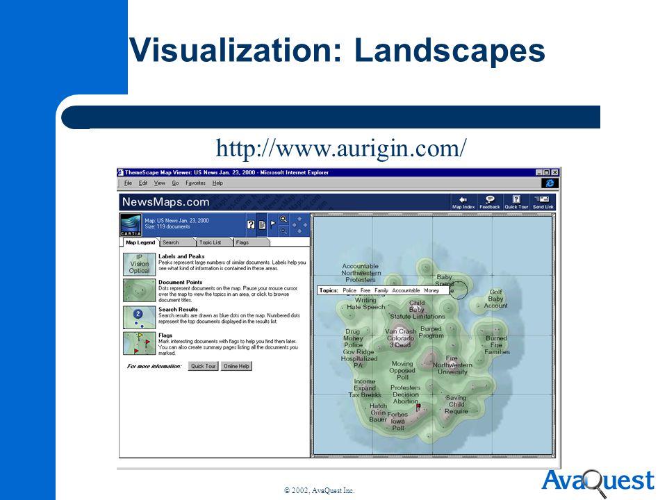 © 2002, AvaQuest Inc. Visualization: Landscapes http://www.aurigin.com/