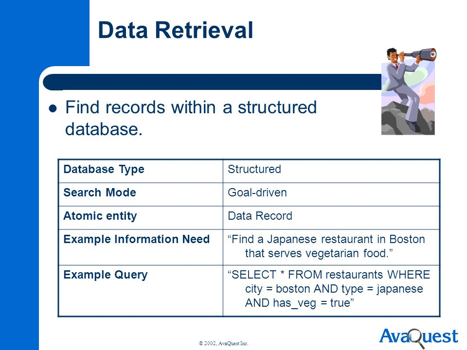 © 2002, AvaQuest Inc. Data Retrieval Find records within a structured database. Database TypeStructured Search ModeGoal-driven Atomic entityData Recor