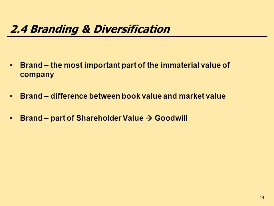44 2.4 Branding & Diversification Brand – the most important part of the immaterial value of company Brand – difference between book value and market value Brand – part of Shareholder Value Goodwill