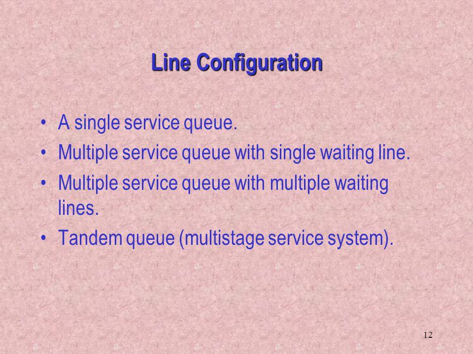 12 A single service queue. Multiple service queue with single waiting line. Multiple service queue with multiple waiting lines. Tandem queue (multista