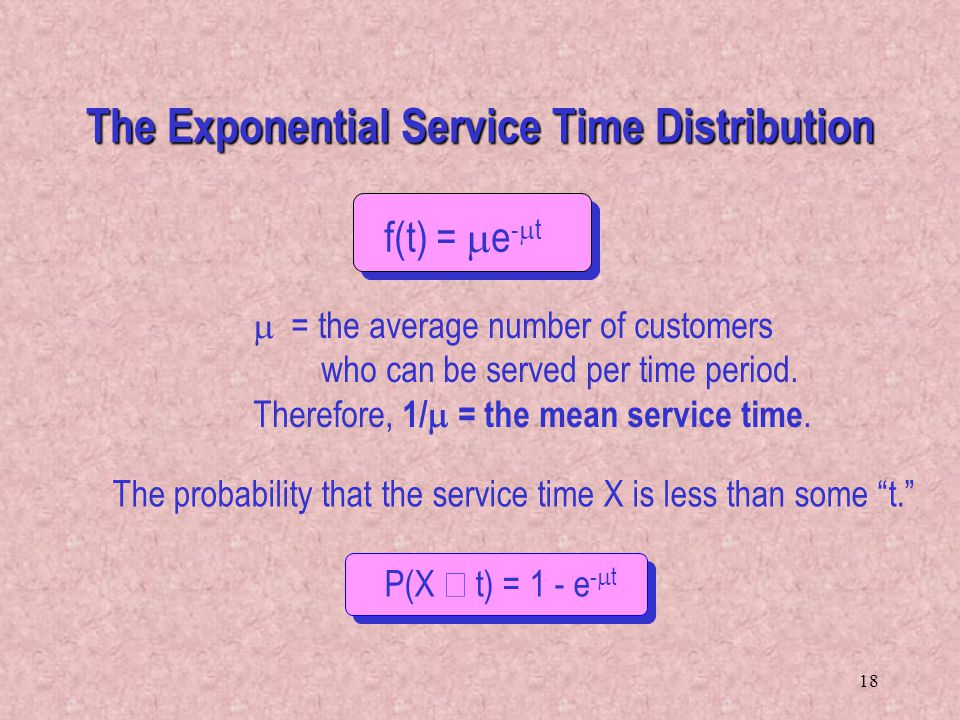18 f(t) = e - t = the average number of customers who can be served per time period. Therefore, 1/ = the mean service time. The probability that the s