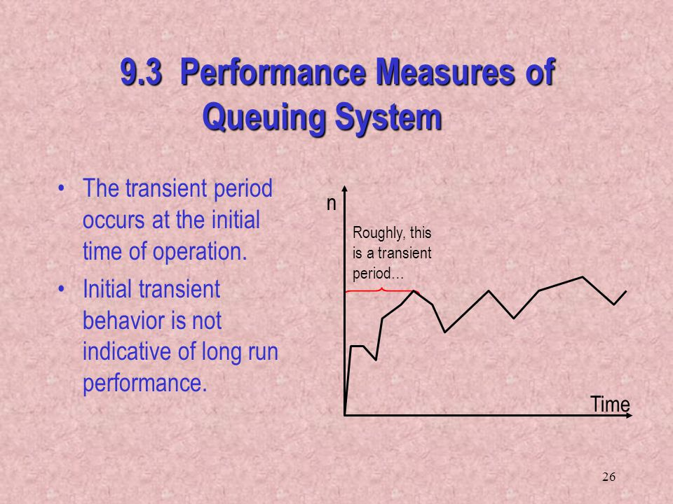 26 Roughly, this is a transient period… n Time 9.3 Performance Measures of Queuing System The transient period occurs at the initial time of operation