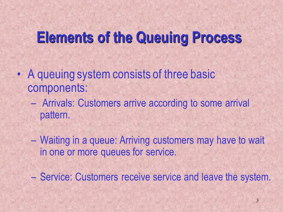 3 Elements of the Queuing Process A queuing system consists of three basic components: – Arrivals: Customers arrive according to some arrival pattern.