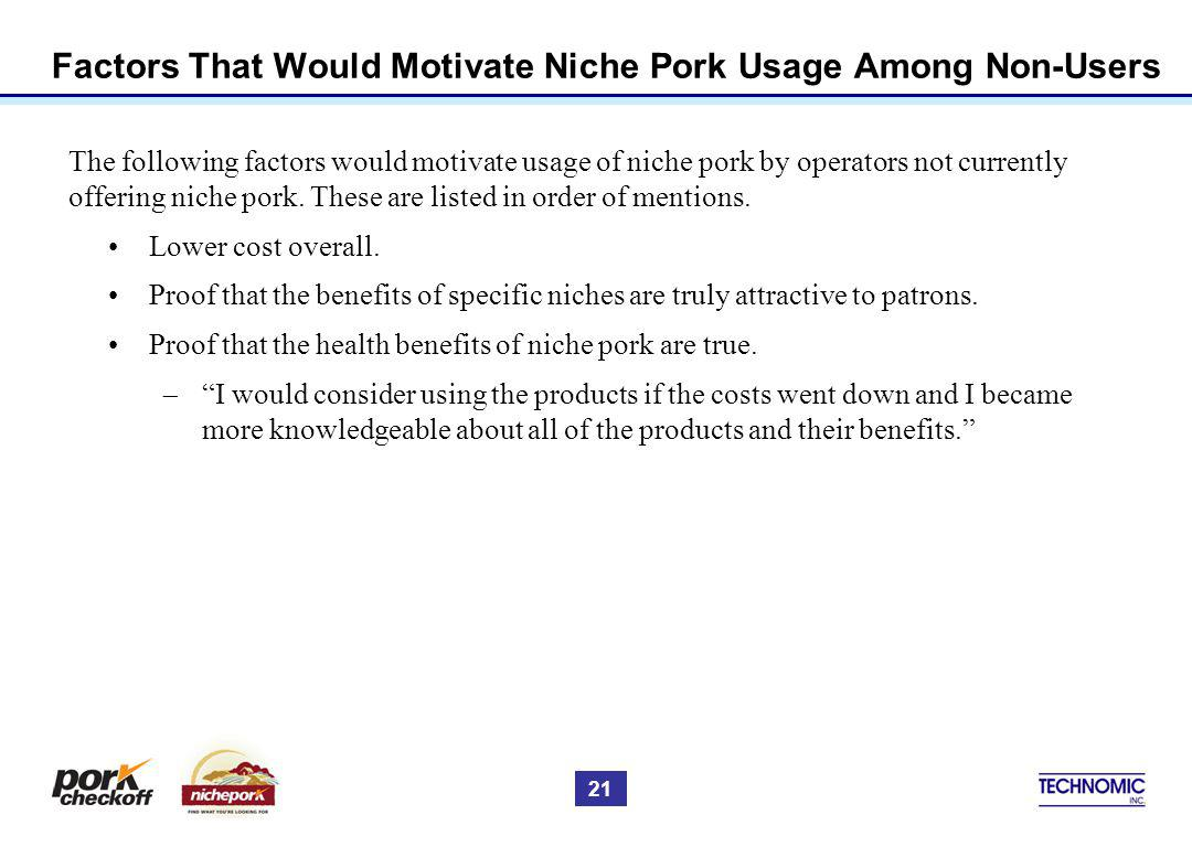 Factors That Would Motivate Niche Pork Usage Among Non-Users The following factors would motivate usage of niche pork by operators not currently offer