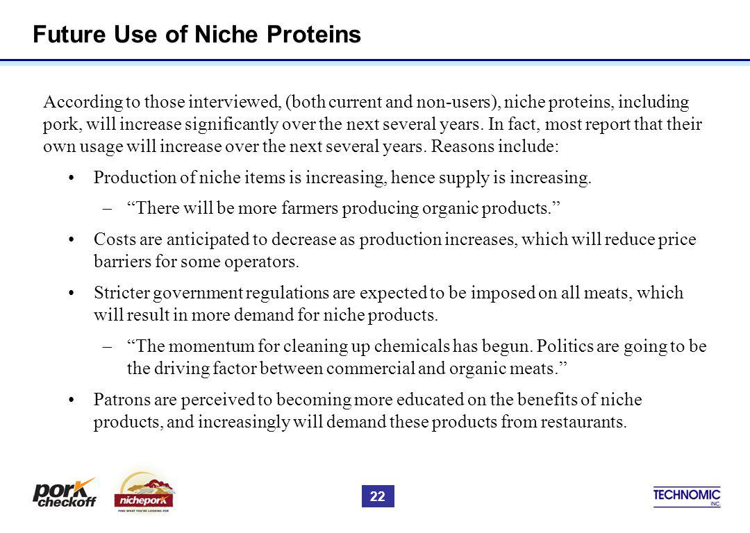 Future Use of Niche Proteins According to those interviewed, (both current and non-users), niche proteins, including pork, will increase significantly over the next several years.