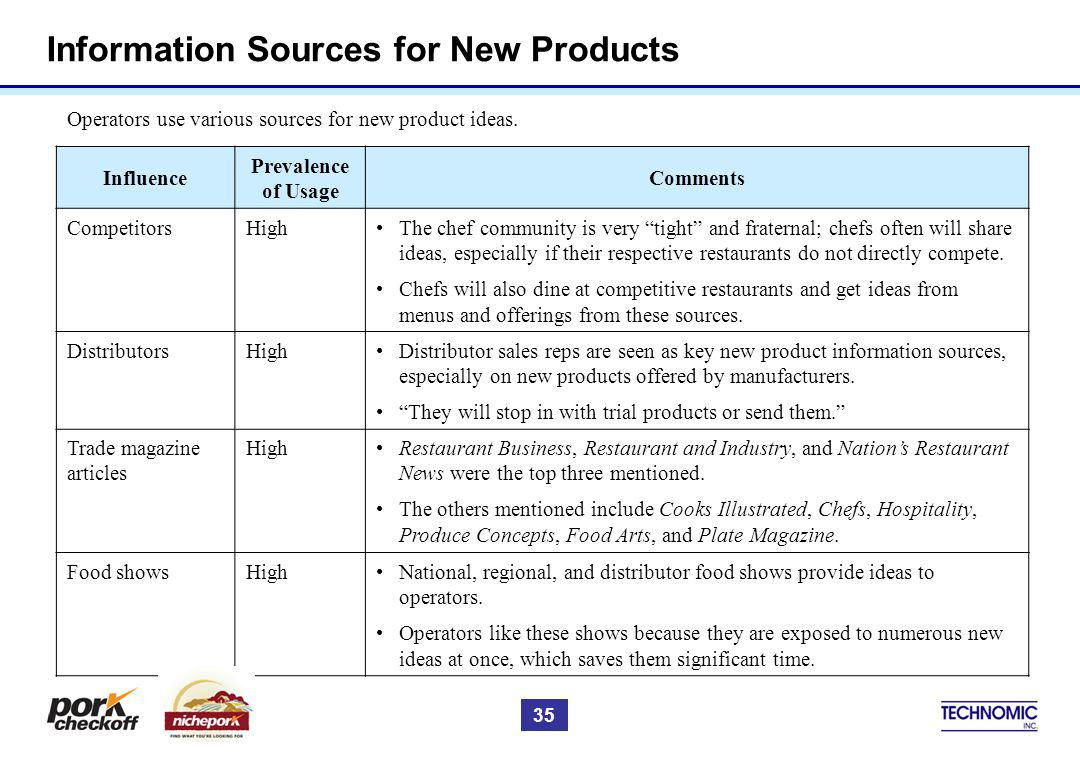 Information Sources for New Products Operators use various sources for new product ideas. Influence Prevalence of Usage Comments CompetitorsHighThe ch