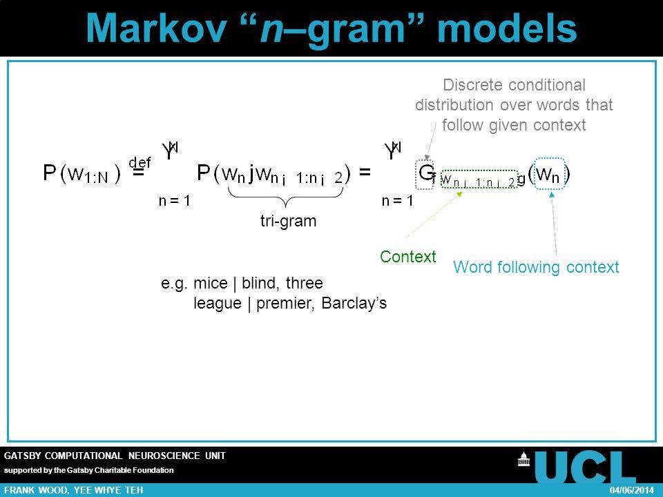 GATSBY COMPUTATIONAL NEUROSCIENCE UNIT supported by the Gatsby Charitable Foundation FRANK WOOD, YEE WHYE TEH04/06/2014 Markov n–gram models tri-gram e.g.