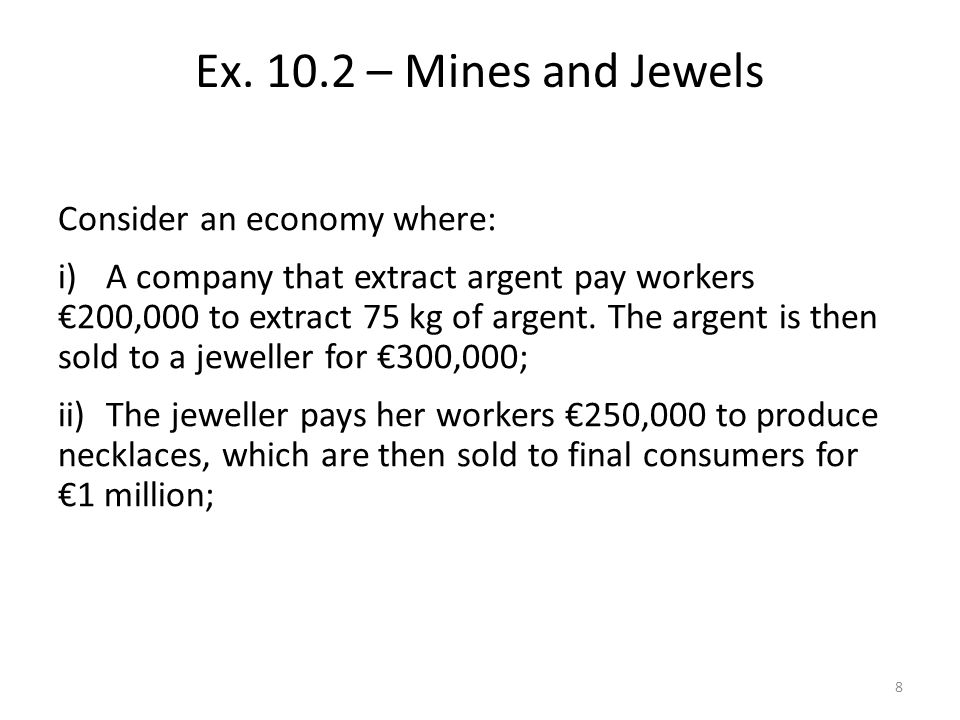 Consider an economy where: i)A company that extract argent pay workers 200,000 to extract 75 kg of argent.