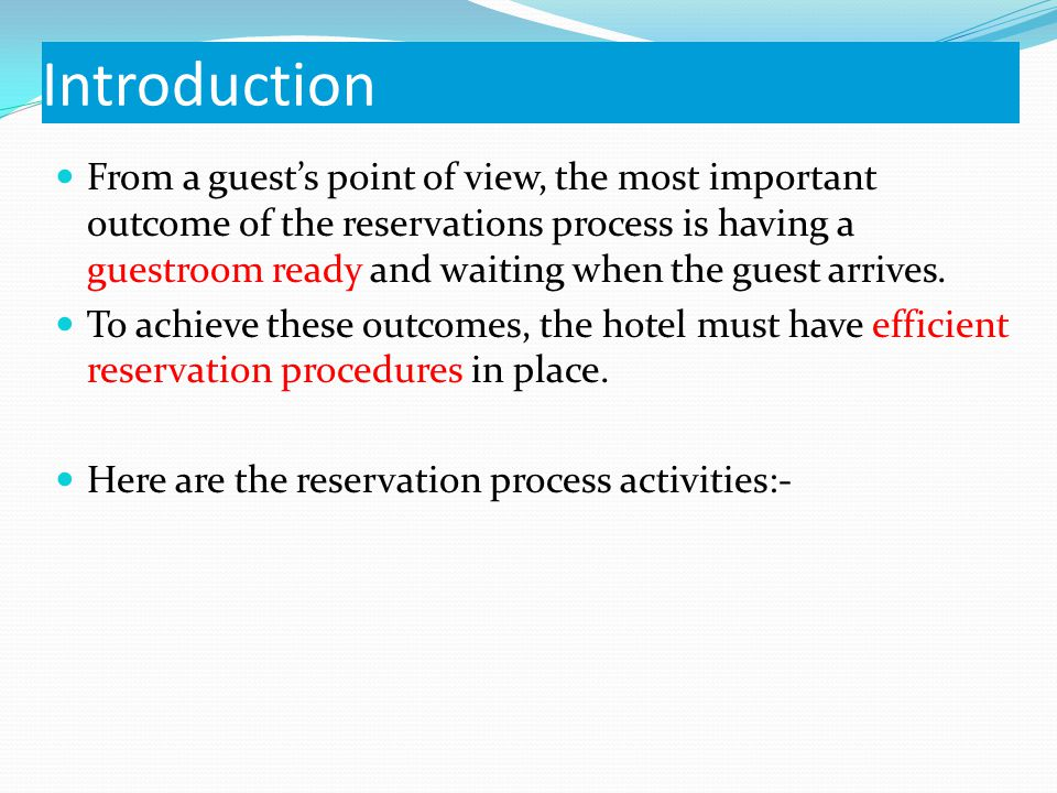 What is a reservation? It is a booking in advance for a space for a specified period of time. E.g. Hotel ballroom, restaurant booking, airline seat, a