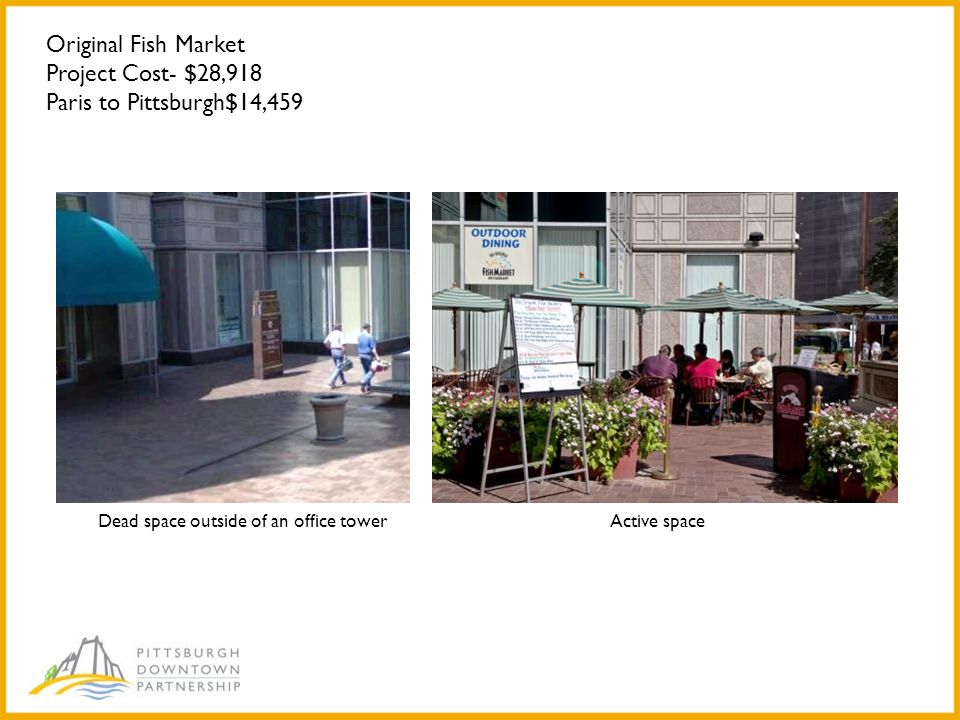 Original Fish Market Project Cost- $28,918 Paris to Pittsburgh$14,459 Dead space outside of an office towerActive space