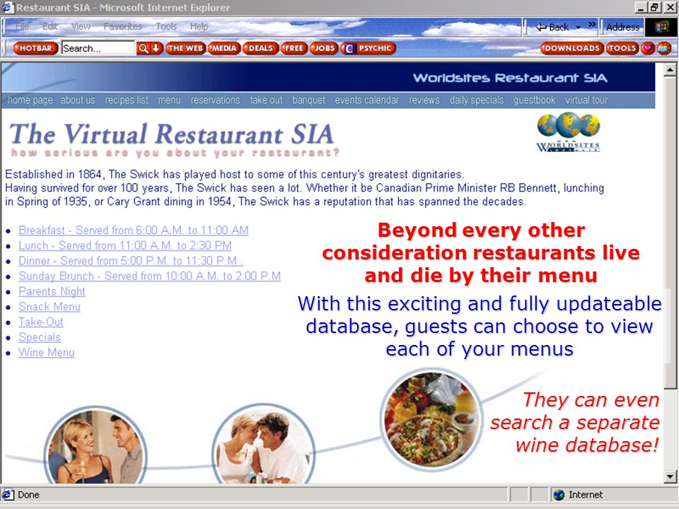Beyond every other consideration restaurants live and die by their menu With this exciting and fully updateable database, guests can choose to view ea