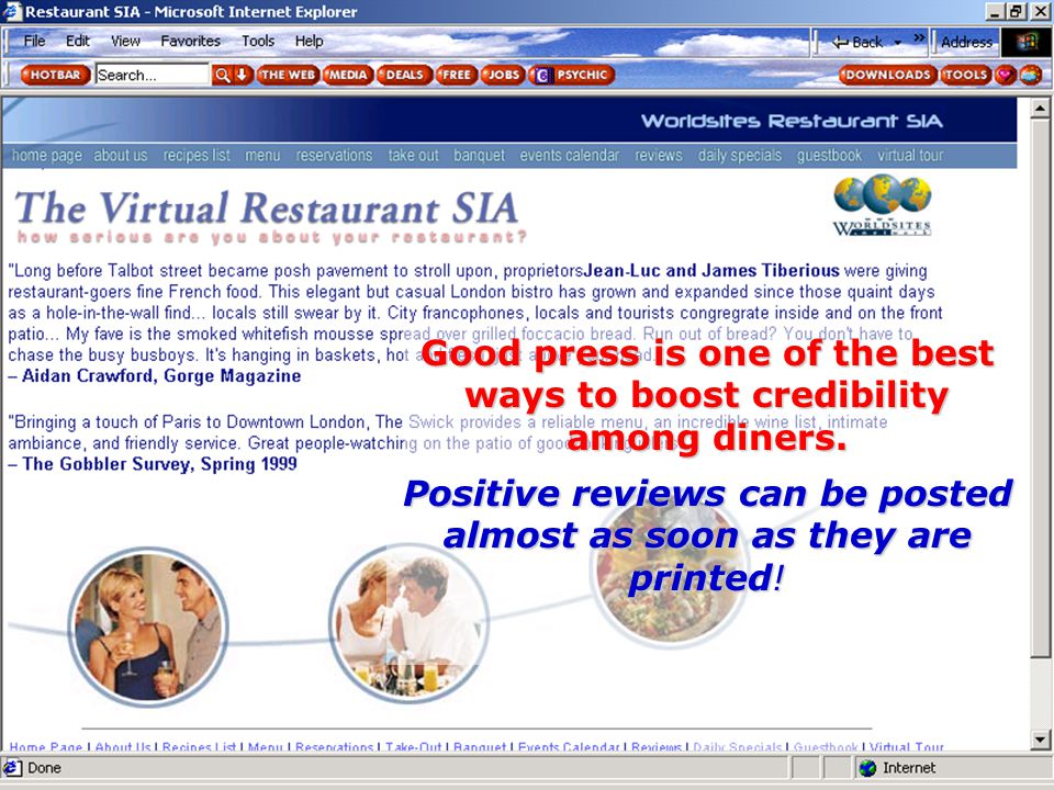 Good press is one of the best ways to boost credibility among diners.