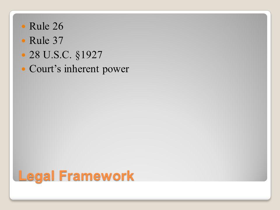 Legal Framework Rule 26 Rule 37 28 U.S.C. §1927 Courts inherent power