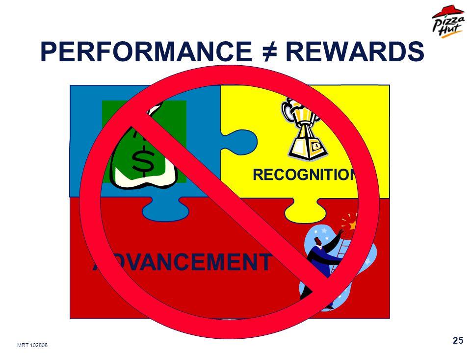 MRT 102505 25 PERFORMANCE REWARDS RECOGNITION ADVANCEMENT