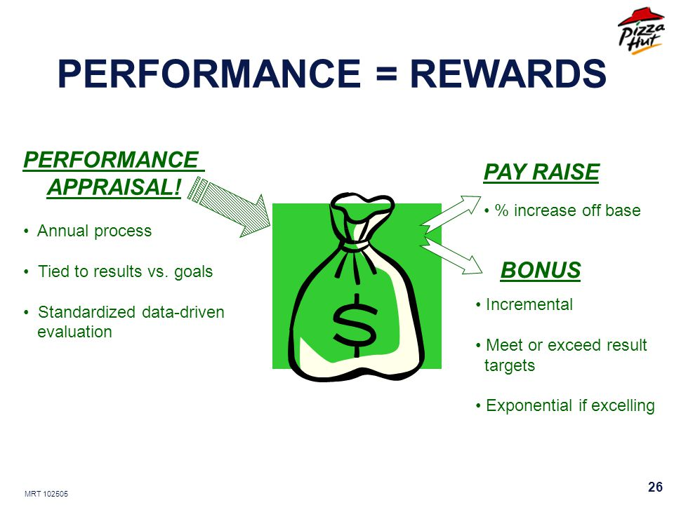 MRT 102505 26 PERFORMANCE = REWARDS PERFORMANCE APPRAISAL! Annual process Tied to results vs. goals Standardized data-driven evaluation PAY RAISE % in