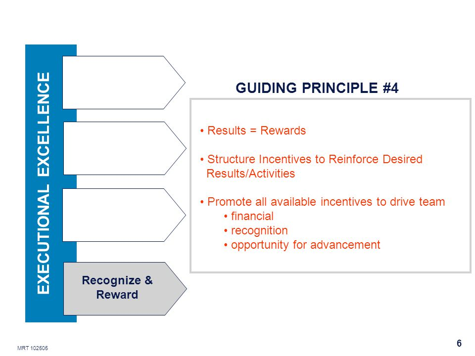 MRT 102505 6 Recognize & Reward EXECUTIONAL EXCELLENCE Results = Rewards Structure Incentives to Reinforce Desired Results/Activities Promote all available incentives to drive team financial recognition opportunity for advancement GUIDING PRINCIPLE #4