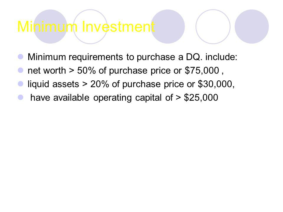 Minimum Investment Minimum requirements to purchase a DQ.