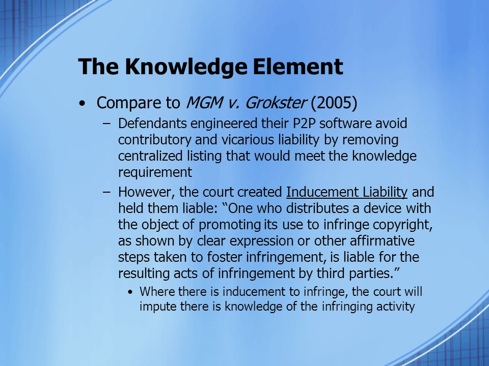 The Knowledge Element Compare to MGM v.