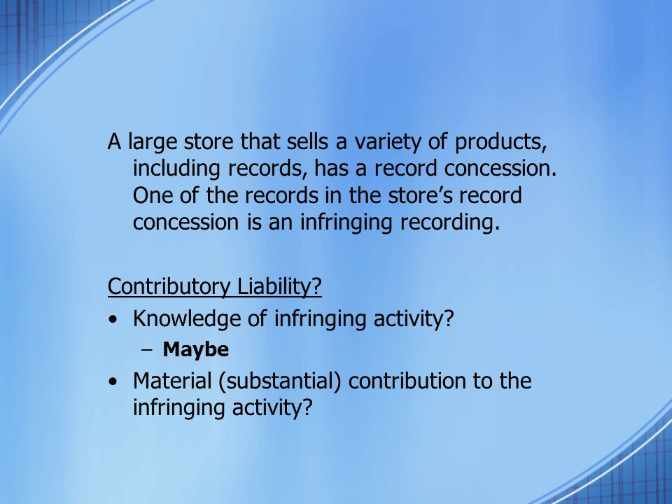 A large store that sells a variety of products, including records, has a record concession. One of the records in the stores record concession is an i