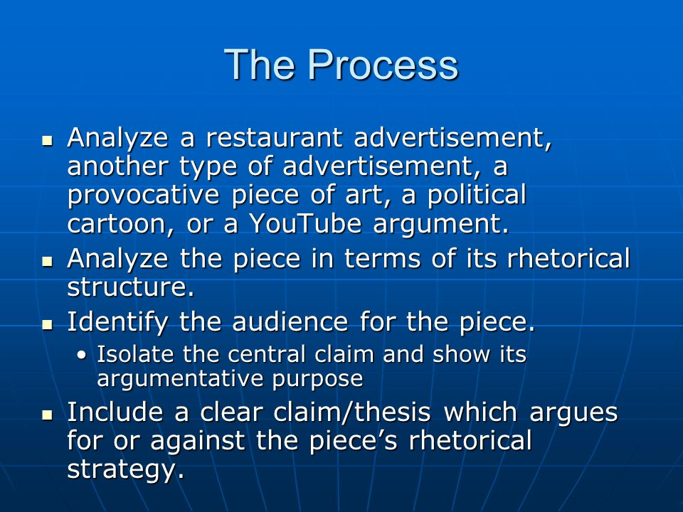 The Process Analyze a restaurant advertisement, another type of advertisement, a provocative piece of art, a political cartoon, or a YouTube argument.
