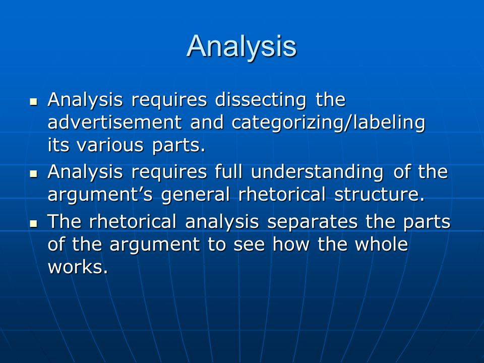 Analysis Analysis requires dissecting the advertisement and categorizing/labeling its various parts. Analysis requires dissecting the advertisement an