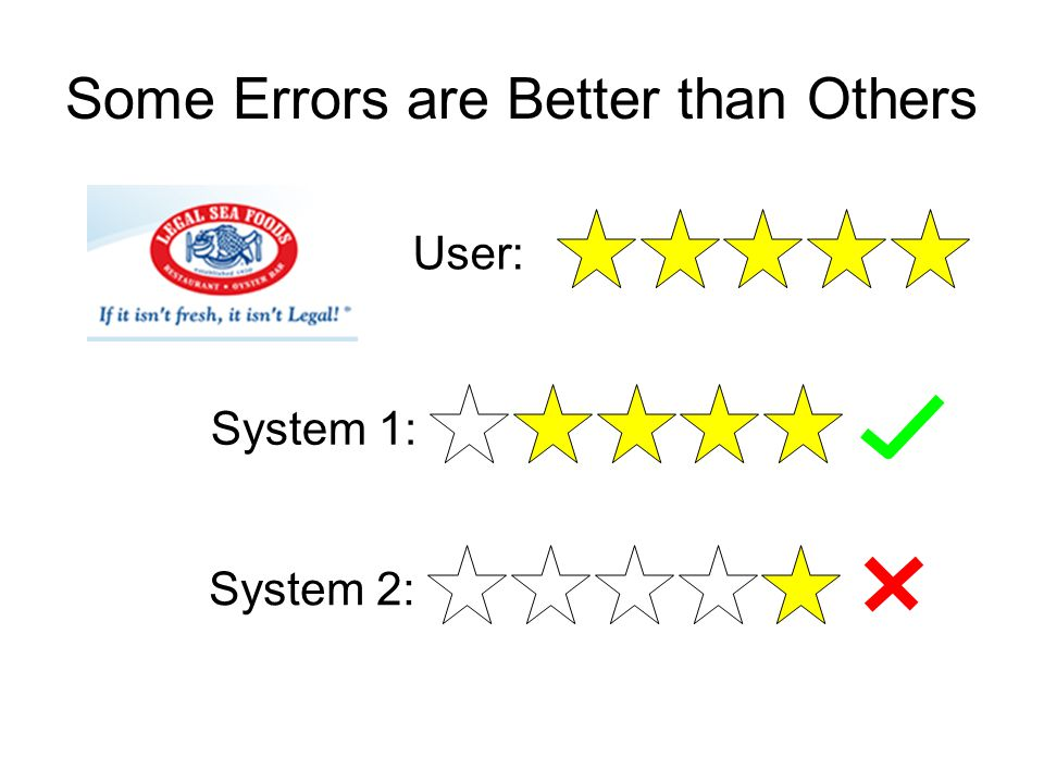 Some Errors are Better than Others User: System 1:System 2:
