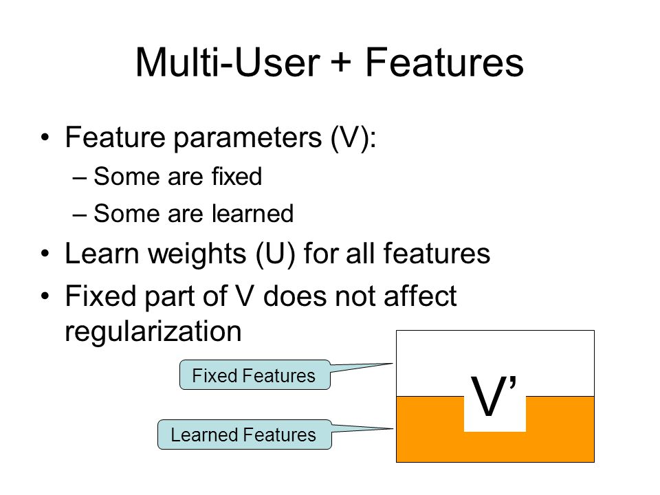 Fixed Features Learned Features Multi-User + Features Feature parameters (V): –Some are fixed –Some are learned Learn weights (U) for all features Fixed part of V does not affect regularization V