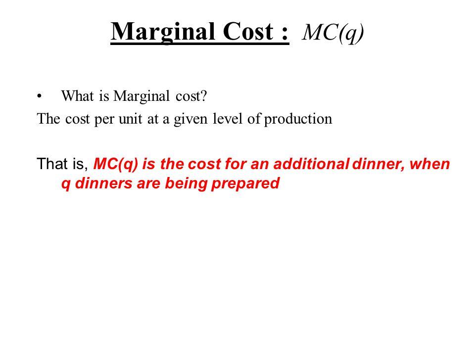 Marginal Analysis- where h = 0.000001 MR(q) = R(q) 1,000 Marketing Project