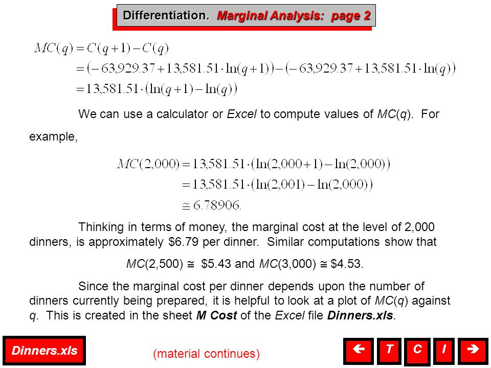 Marginal Analysis MP(q) = MR(q) – MC(q) We will use Solver to find the exact value of q for which MP(q) = 0.