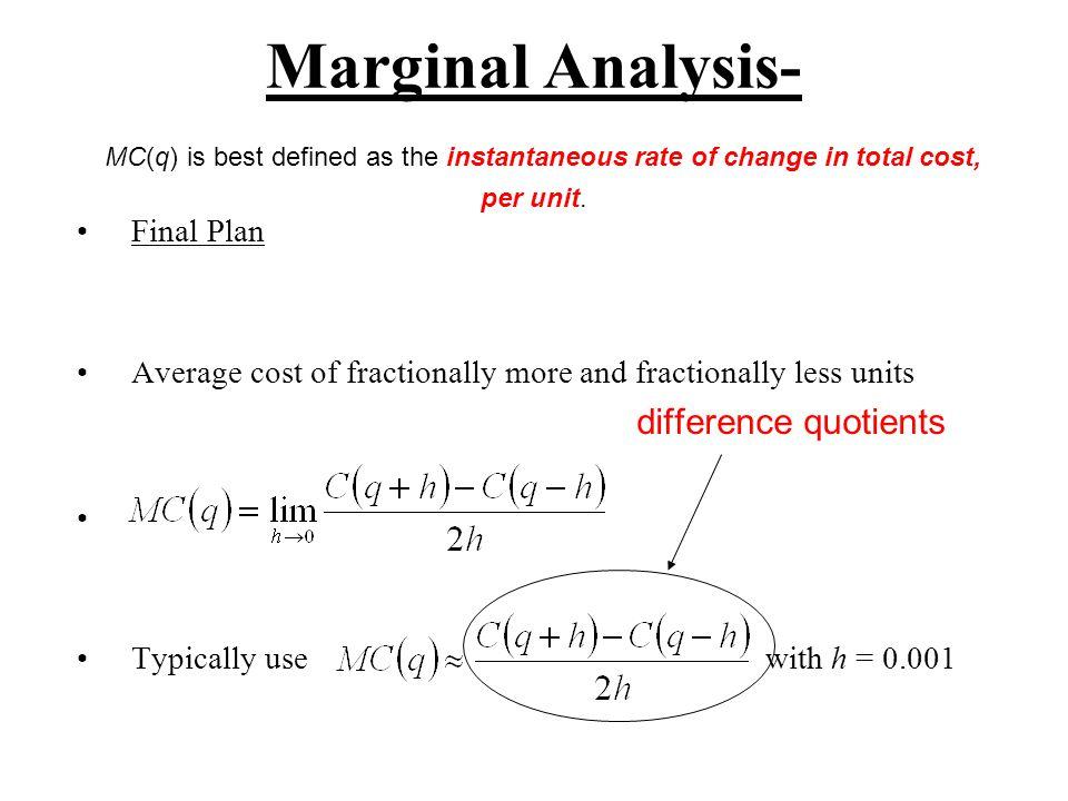 Marginal Analysis Ex.