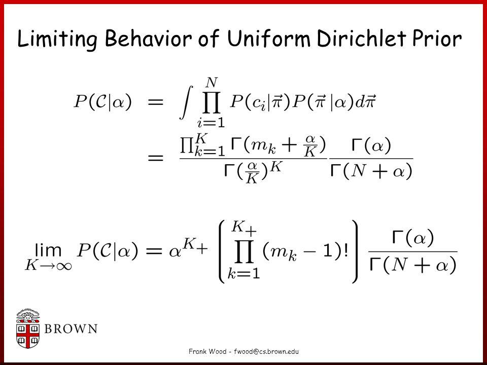 Frank Wood - fwood@cs.brown.edu Limiting Behavior of Uniform Dirichlet Prior