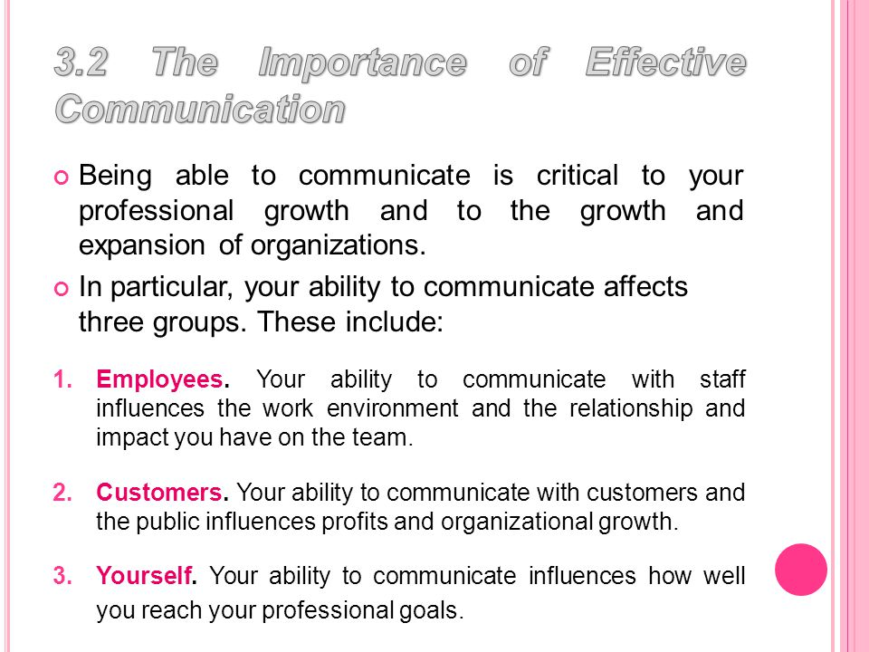 Communication is defined as the process of sending and receiving information by talk, gestures, or writing for some type of response or action.