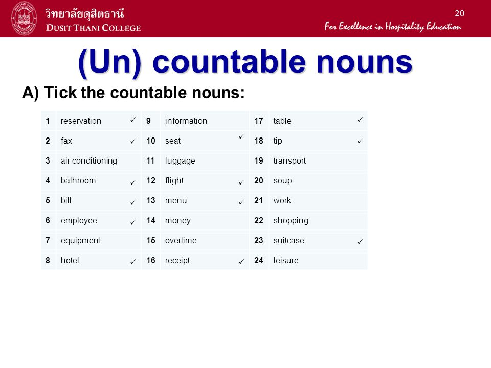 20 (Un) countable nouns A) Tick the countable nouns: 1reservation9information17table 2fax10seat18tip 3air conditioning11luggage19transport 4bathroom12