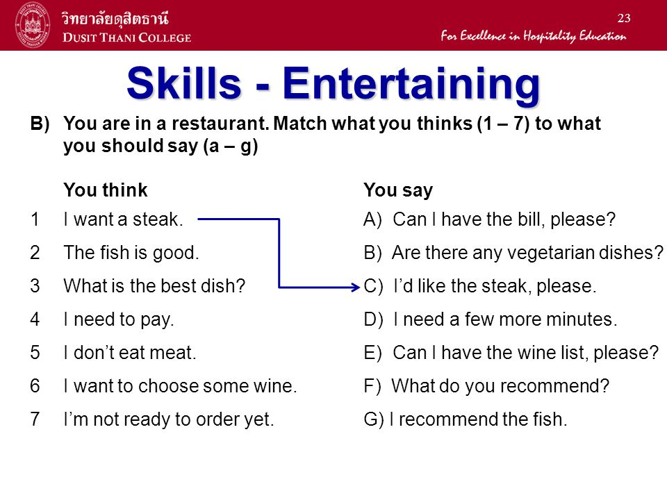 23 Skills - Entertaining B)You are in a restaurant. Match what you thinks (1 – 7) to what you should say (a – g) You thinkYou say 1I want a steak.A) C