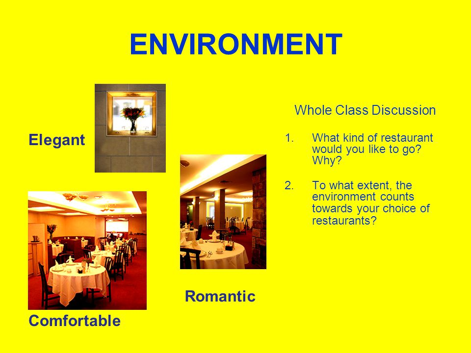 ENVIRONMENT Elegant Comfortable Whole Class Discussion 1.What kind of restaurant would you like to go.