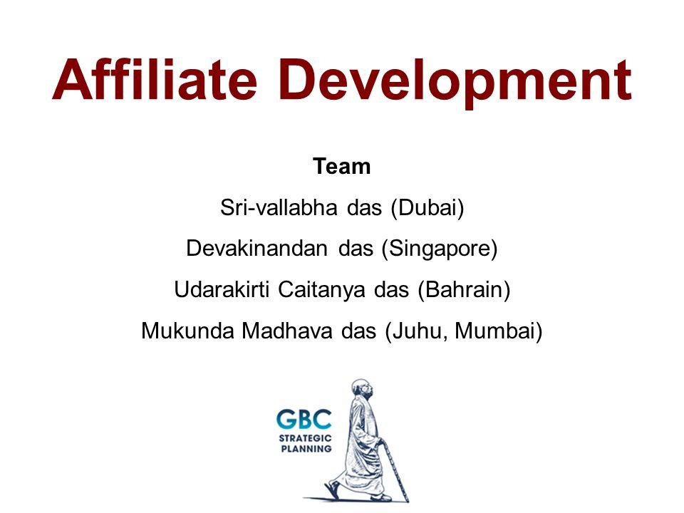 Affiliate Development Team Sri-vallabha das (Dubai) Devakinandan das (Singapore) Udarakirti Caitanya das (Bahrain) Mukunda Madhava das (Juhu, Mumbai)