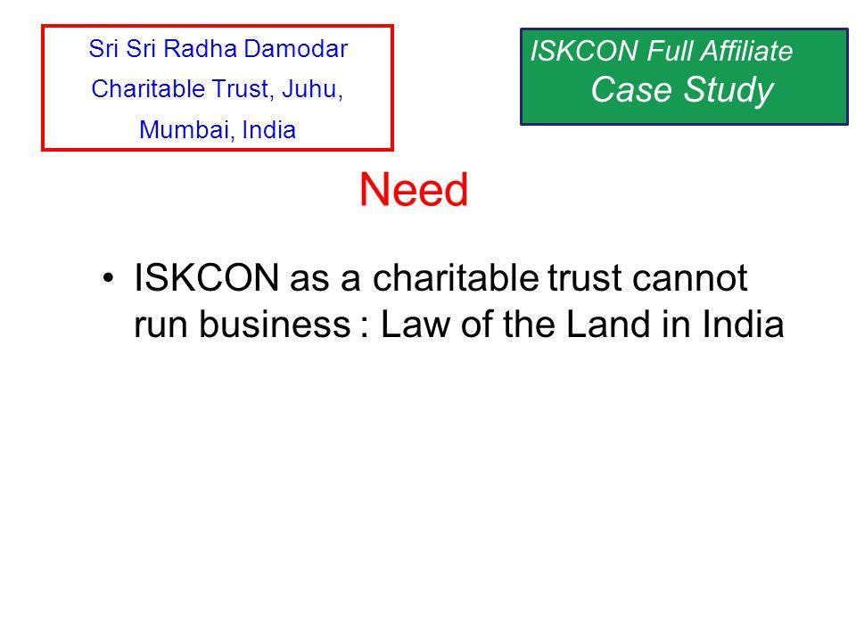 ISKCON as a charitable trust cannot run business : Law of the Land in India Need ISKCON Full Affiliate Case Study Sri Sri Radha Damodar Charitable Tru