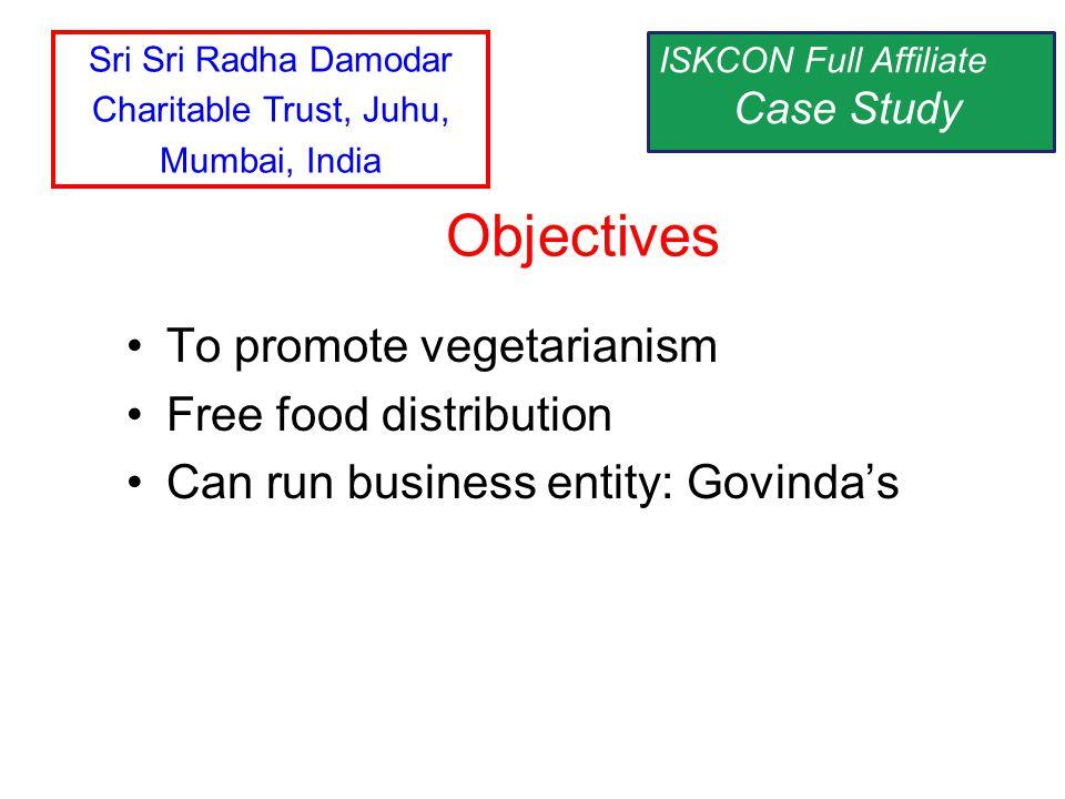 To promote vegetarianism Free food distribution Can run business entity: Govindas Objectives ISKCON Full Affiliate Case Study Sri Sri Radha Damodar Ch