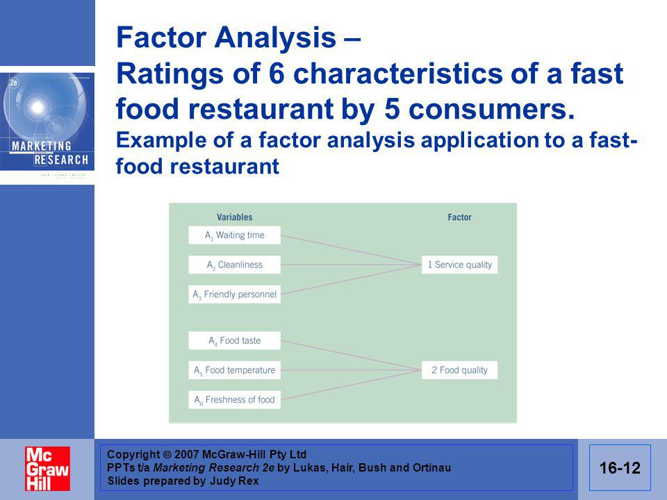 Copyright 2007 McGraw-Hill Pty Ltd PPTs t/a Marketing Research 2e by Lukas, Hair, Bush and Ortinau Slides prepared by Judy Rex 16-12 Factor Analysis – Ratings of 6 characteristics of a fast food restaurant by 5 consumers.